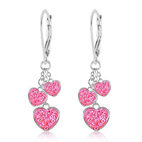 - Kids Earrings - White Gold Tone Hearts Pink Crystal Earrings with Silver Leverbacks Baby, Girls, Children