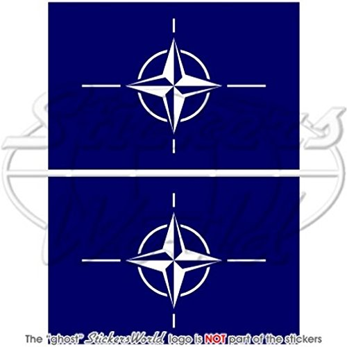 Stickers x2 homonymie 100/mm OTAN en vinyle Bumper Stickers LOTAN Drapeau organisation du trait/é de lAtlantique Nord 10,2/cm