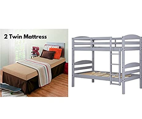 Sturdy Mainstays Twin Over Wood Bunk Bed With Memory Foam Mattress Bundle Gray