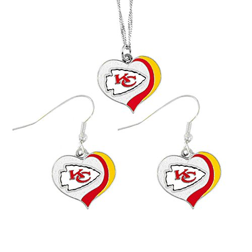 (aminco Kansas City Chiefs Sports Team Logo Glitter Heart Necklace and Earring Set)