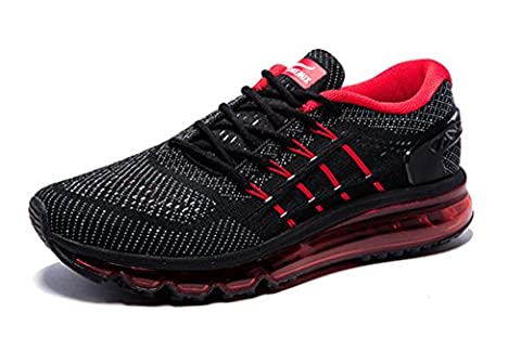 Onemix Men's Air Running Shoes, Light Gym Outdoor Walking Sneakers Black Red Size 8 D(M) US - Uomo Mens Fashion