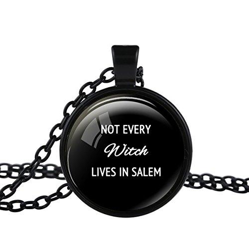 FM FM42 Black-tone Witch Halloween Quote Round Pendant Necklace TN2739
