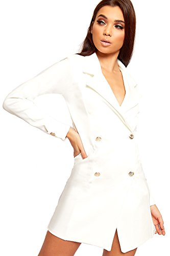 e97caabb001c WEARALL - Damen Doppelt Breasted Lang Hülle Kurz Schaltfläche Kragen Damen  Mini Blazer Kleid - 34