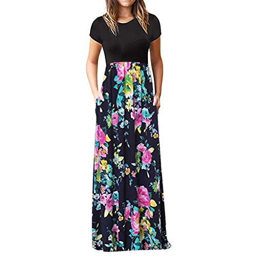 iLUGU Women's Casual Sleeve O-Neck Print Maxi Tank Long Dress -
