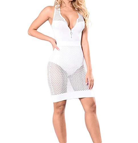 Racer Back Fishnet - CHRONSTYLE Women's Sexy Sleeveless V Neck Fishnet Bodycon Racer Back Short Mini Dress Evening Party