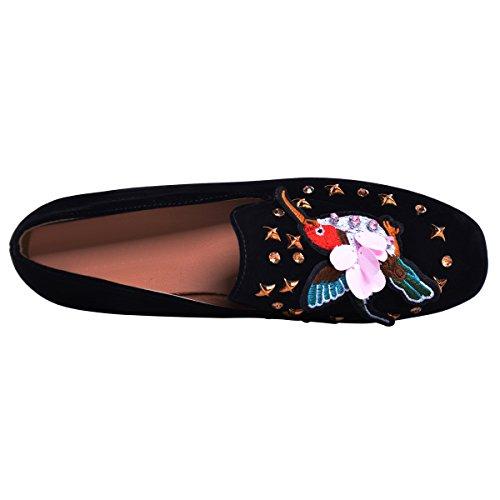 Pisos De Cuero De Gamuza De Las Mujeres Bordado De Ocio Suave Y Ligero Bailarinas Confort Conducción Zapatos Negro