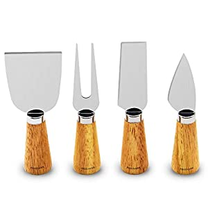 Freehawk 4 Pieces Set Cheese Knives with Bamboo Wood Handle Steel Stainless Cheese Slicer Cheese Cutter (Barrel Handle)