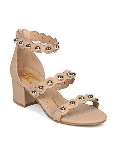 Nubuck Stud - Alrisco Women Nubuck Open Toe Button Stud Low Block Heel Sandal HG97 - Nude Nubuck (Size: 7.0)