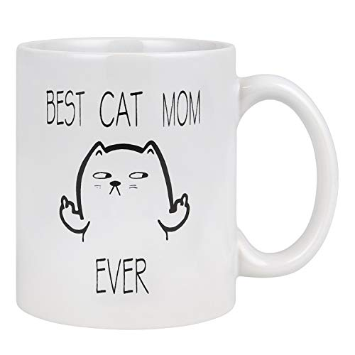 Best Cat Mom Ever Funny Coffee Mug Best Cat Gifts for Mom Cat Lovers Coffee Cup White 11 oz
