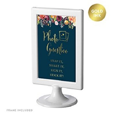 Andaz Press Framed Wedding Party Signs, Navy Blue Burgundy Coral Florals Flowers with Metallic Gold Ink, 4x6-inch, Photo Guestbook Snap It, Shake It, Sign It, Stick It, Polaroid, Double-Sided, 1-Pack