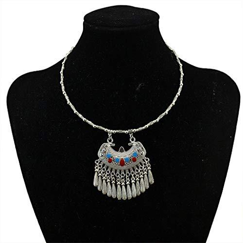 (Silver Tone Fringe Statement Necklace Bohemian Ethnic Tribal Boho Jewelry Necklace Jewelry Crafting Key Chain Bracelet Pendants Accessories Best)