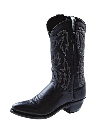 Old West Black Womens Polanil Leather 11in Narrow Round Toe Cowboy Boots 9 M