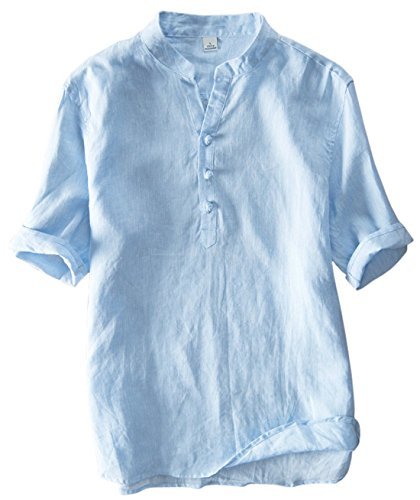 utcoco Men's Vintage Round Collar Chinese Style Henley Shirts Short Sleeve Tops (XX-Large, Blue) by utcoco
