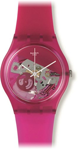 Swatch GP146 Grana Tech Pink See Through Dial Silicone Band Unisex Watch NEW