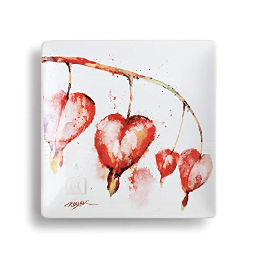 - Dean Crouser Bleeding Heart Watercolor Red 7 x 7 Ceramic Stoneware Decorative Snack Plate