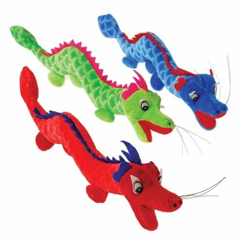 "Set of 3 ~ Colorful Plush Dragons- 13"""