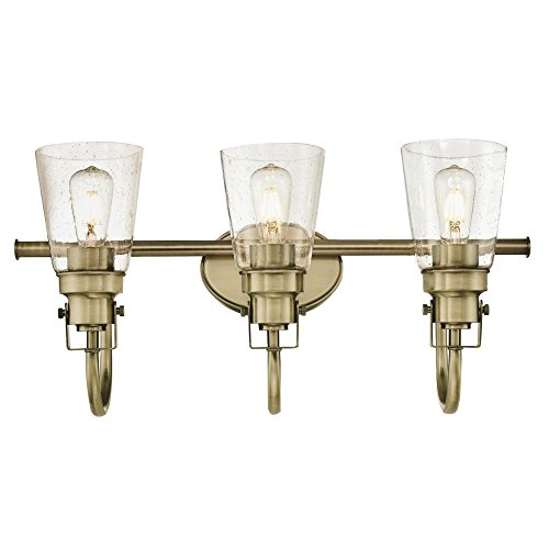 Westinghouse Lighting 6334000 Ashton Three-Light Indoor Wall Fixture, Antique Brass Finish with Clear Seeded Glass