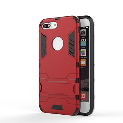 EKINHUI Case Cover 2 in 1 New Armour Tough Art Hybrid Dual Layer Rüstung Defender PC Hard Cases mit Ständer Stoß- Fall für iPhone 7 plus ( Color : Red )