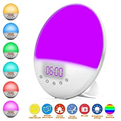 Banlana Wake Up Light, Digital Alarm Clock, Colored Sunrise Simulation and Sunset Fading Night Light with 7 Natural Sounds Setting FM Radio for Bedrooms