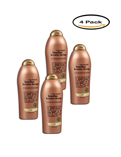 PACK OF 4 - OGX Brazilian Keratin Therapy Conditioner Ever Straightening +, 25.4 FL OZ by OGX