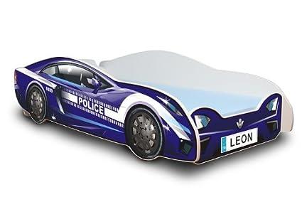 Best For Kids Autobett 80x180 cm in zwei Farben mit Lattenrost und Matratze 10 cm + Name des Kindes als Auto-Schild! (Blau)