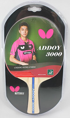 Butterfly Addoy Table Tennis Racket - Table Tennis Paddle with Smooth Rubber - Great Beginner Ping Pong Racket - ITTF Approved Butterfly Ping Pong Paddle - Choose 1000, 2000, or 3000 Ping Pong Racket Models