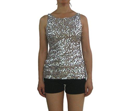 Whitewed Sequin Mardi Gras Vegas Theme Stage T Shirt Tank Top Costume,Silver,Medium
