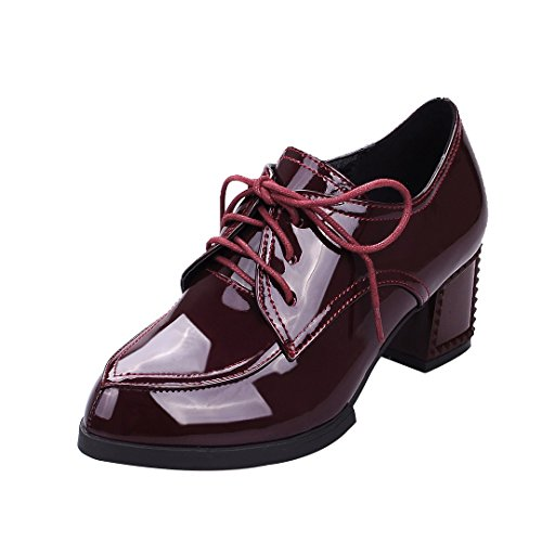 ENMAYER Womens PU Material Flat Square Toe Retro Casual British Lace up Shoes Plus Size Winered tO1s50YyE