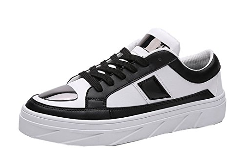 Tda Mens Fashion Lace Up Cuir Antidérapant Antidérapant Chaussures De Skateboard Noir / Blanc
