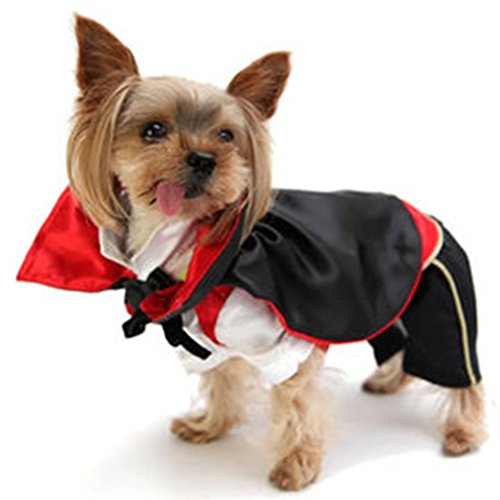 OSPet Funny Pet Hooded Vampire Costume for Small Dogs & Cats Halloween Party Cosplay (Minion Dog Costumes)