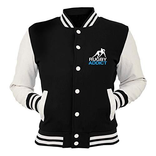 College shirtshock Trug0125 Giacca Nera Addict Rugby T EyRHqPq