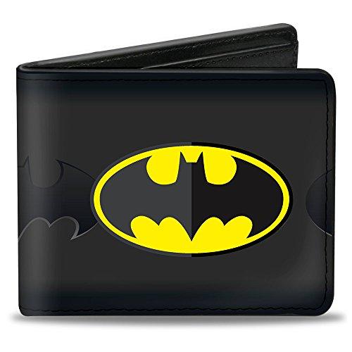 Bi-Fold Wallet - Batman Icon Centered/Bat Signal Stripe Black/Yellow/Grays ()