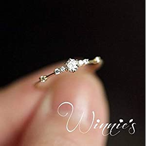 JESMING 7 Tiny Diamond Pieces of Exquisite Small Fresh Style Ladies Engagement Ring Jewelry