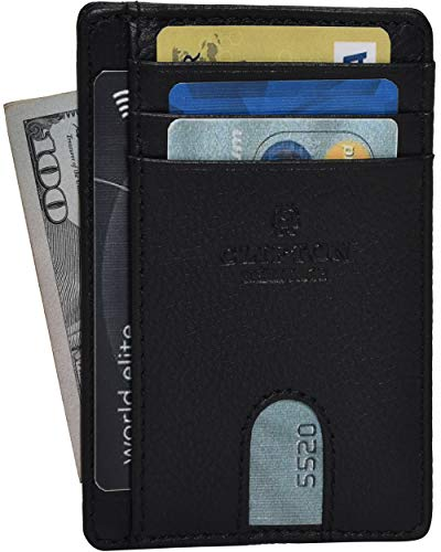 RFID Leather Front Pocket Slim Wallets- Genuine Leather Minimalist Credit Card Holder By Clifton Heritage (Black Nappa)