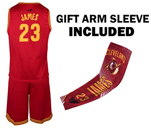 (James Red Lebron Kids Basketball Jersey Shorts Set Youth Sizes Premium Quality Gift Set with Compression Shoorter Arm Sleeve (YS (6-8 Years), Kit) )