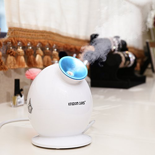 KINGDOMBEAUTY Nano Ionic Facial Steamer Hot Mist Moisturizing Cleansing Skin Care Personal Sauna SPA Cleaning Pores Clear Blackheads Acne Atomizer Humidifier Nano Face Steam Warm Mist Sprayer Blue