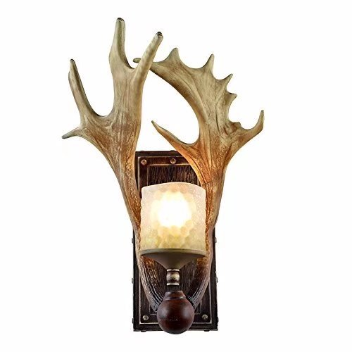 JHT Resin Antler Wall Sconce 1 Light Frosted Glass Shade (Antique)