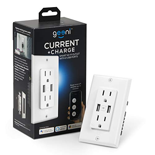 Geeni High Speed USB Charger Smart Outlet, White, 2 Outlets, 2 USB Ports - No Hub Required - Smart Outlet Compatible with Alexa, Google Assistant & Microsoft Cortana, Requires 2.4 GHz Wi-Fi