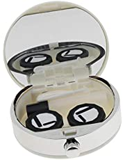 Mini Cute Contact Lens Soaking Case Portable Storage Box Container Holder - Black/White - White, as described