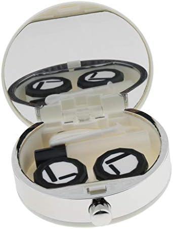 プラスチック製のポータブルかわいいコンタクトレンズケース旅行ミラーキット収納容器 - 白