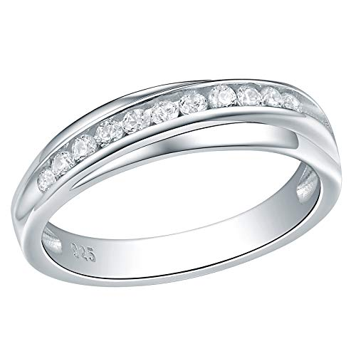 (Wuziwen 5mm Wedding Band Eternity Ring for Women Engagement Bridal Sterling Silver White Cz Size 10)