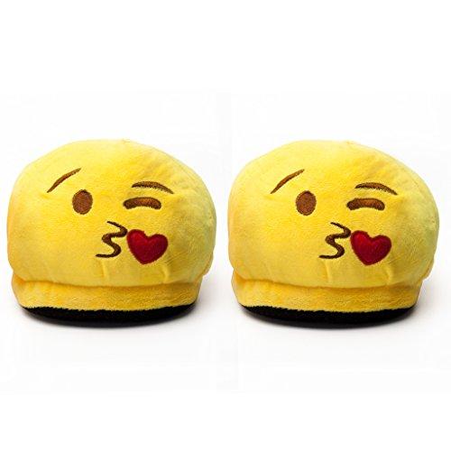 Zapatillas de felpa con motivo Emoji Diablo - Riendo para niños y adultos - Pantuflas de estar por casa Smiley de invierno - Violeta Talla Única 36-44 Amarillo / Beso