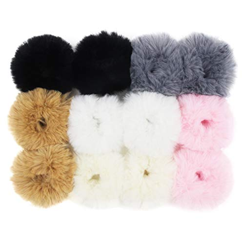 Set of 12 Fuzzy Furry Artificial Rabbit Fur Faux Fur Hair Band Rope Hair Holder Wristband Hair Ring Hair Tie Ponytail Holder Hair Accessories (Popular Mix Colors)