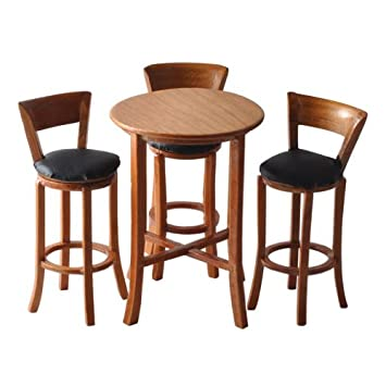dollhouse miniature 4pc round pub table set