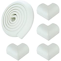 6.5ft Set -4Corner Guard protectors. SafeBaby & Child Safety baby proof edge with clear protective bumpers for furniture. Cushion foam strip brick pad childproof fireplace guard for toddlers- White