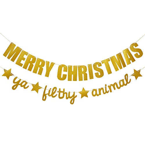 (Gold Glittery Merry Christmas Banner and Gold Glittery Ya Filthy Animal Banner -Christmas Party Holiday Party Decorations)