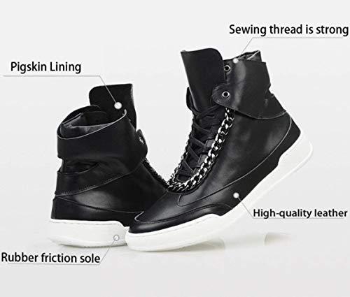 Bianca Bianca Bianca 8UK Scarpe in Dimensione Pelle Skate da da da da Eeayyygch Pelle Nero Hop Uomo Foot Length da Hip da 27cm Scarpe in Skateboard Colore T8q0ZwP4