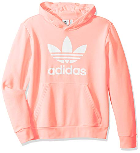 adidas Originals Little Kids Trefoil Hooded Sweatshirt, Glow Pink/White, Large (Pullover Hoodies Pink)