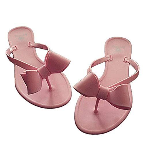 heipeiwa Womens Flip Flops Bow Jelly Sandals Dress Summer Beach Shoes Thong Slippers Pink