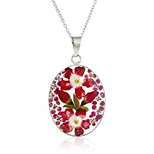 Amazon Collection Sterling Silver/Gold Over Sterling Silver Pressed Flower Pendant Necklace